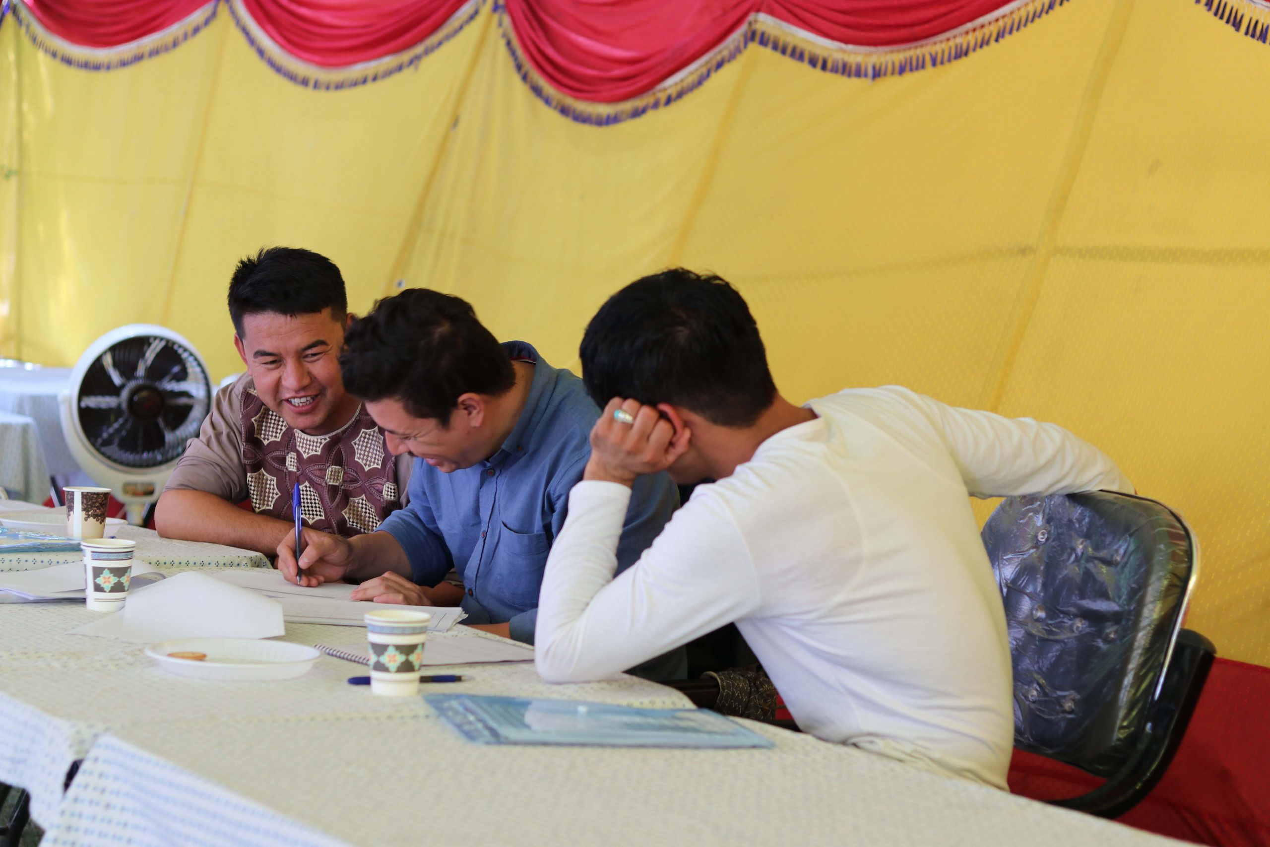 Returnees at the business training session in Afghanistan.